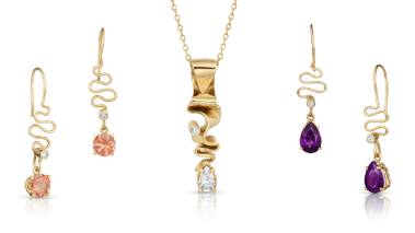 Assorted Ribbons Collection Pieces with Gemstones