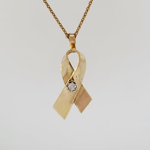 Finished Cancer Ribbon Pendant