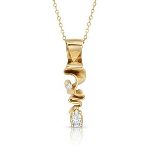 14K Gold & Diamond Pendant from the Ribbon Candy Collection
