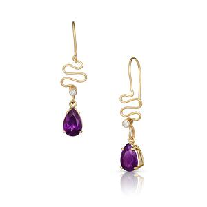 14K Gold, Amethyst, & Diamond Earrings from the Ribbon Candy Collection