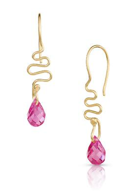 14K Gold Ribbon Candy Earrings with Pink Sapphire Briolettes