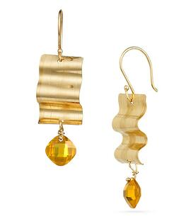 14K Gold Ribbon Candy Earrings with Yellow Sapphire Cushion Cut Briolettes