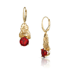 14K Gold Oak Bark & Garnet Earrings with Lever-Backs