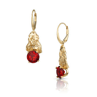 Natural Texture Earrings with 14K Gold Oak Bark & Garnet; Photography by Sara Rey