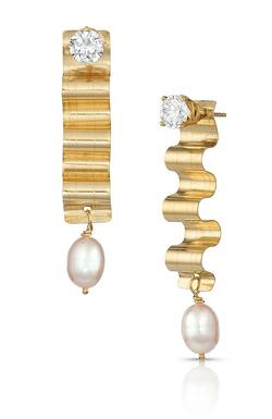 14K Gold Diamond Stud Earrings and 14K Gold & Pearl Earring Jackets from the Ribbon Candy Collection