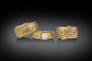 Artisan Jewelry, Three 14K Gold Rings Handmade by Geralyn Sheridan