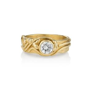 14K Gold Freestyle Bezel Set Diamond Ring