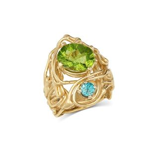 14K Gold Peridot & Blue Zircon Ring with Prong Settings