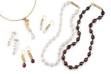 Assortment of Artisan-made 14K Gold & Pearl Ribbon Candy Jewelry