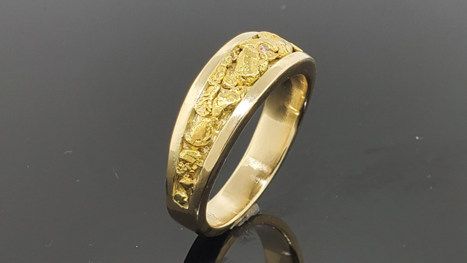Custom 18K Gold Ring with Natural Pure Gold Nuggets; 18K Gold Alloy Made from Gold Nuggets Pictured Above