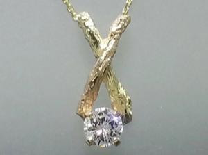 Custom 18K gold branch necklace with diamond