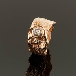 14K Gold Oak Bark Diamond Ring