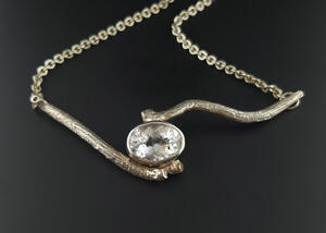 Natural Textures Sterling Silver Willow Branch Necklace with Colorless Topaz