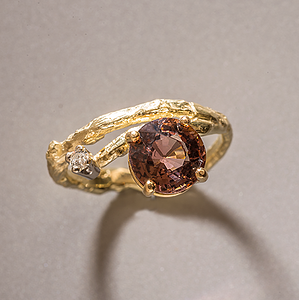 18K Gold Branch Ring with Tourmaline and Diamond