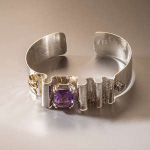 One-of-a-Kind Sterling Silver Cuff Bracelet with 18K Accents & Large Amethyst