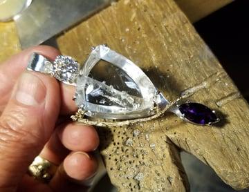 Phantom Quartz Cut to Highlight Crystal Formations Inside Quartz in a Custom Pendant