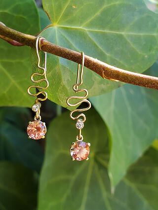 Gold Ribbon Candy Earrings with Oregon Sunstone and Diamonds