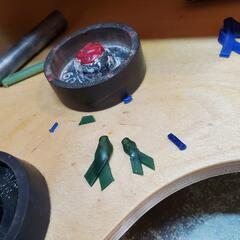 Wax Cancer Ribbon Pendants