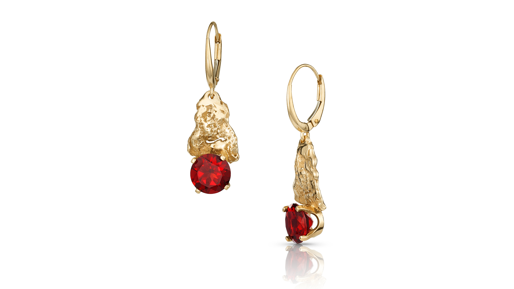 Natural Texture Earrings with 14K Gold Oak Bark & Garnet