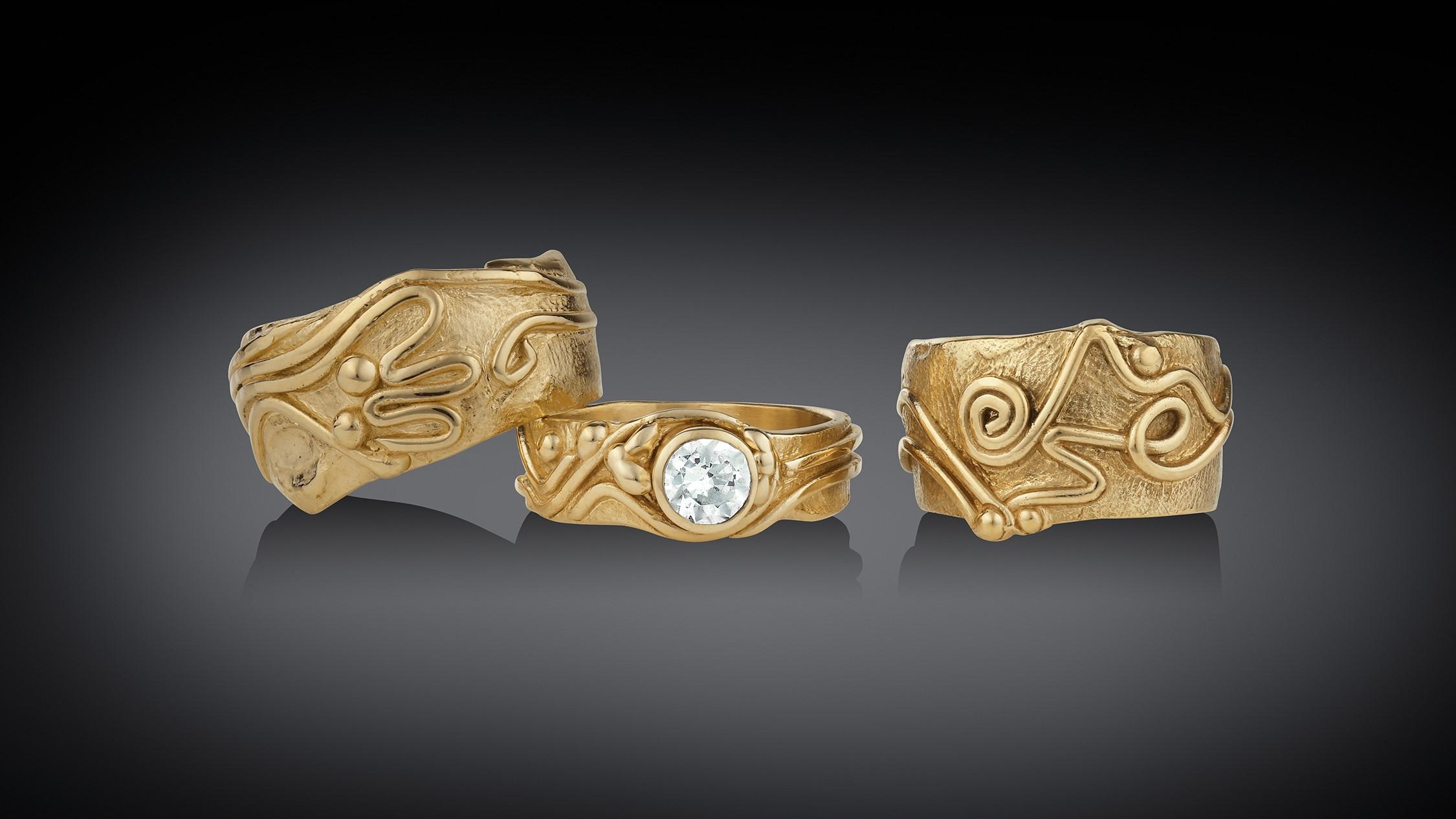 14K & 18K Gold Freestyle Ring Set by Geralyn Sheridan Designs