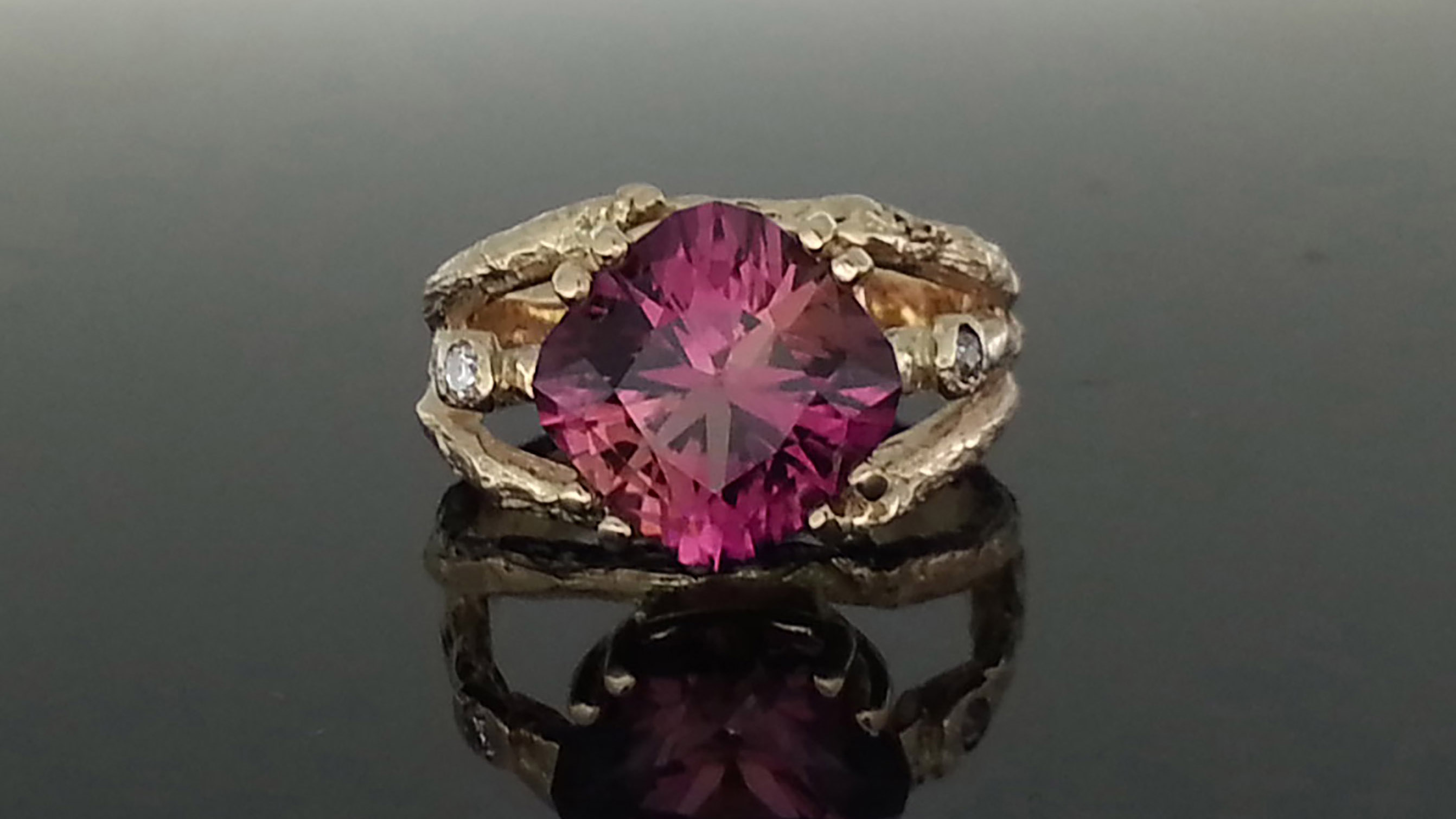 14K Gold Branch Ring with Tourmaline and Diamond
